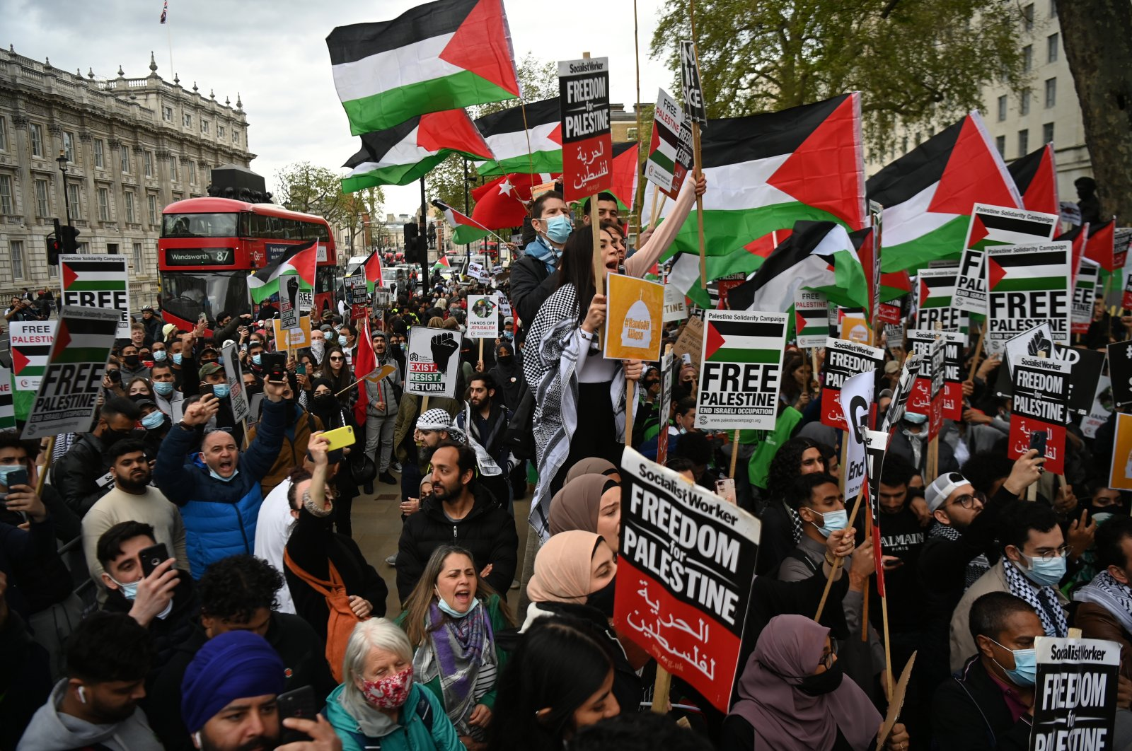 Supporters of Palestine attend an emergency 'Rally for Jerusalem' outside 10 Downing street, in London, Britain, 11 May 2021. (EPA Photo)