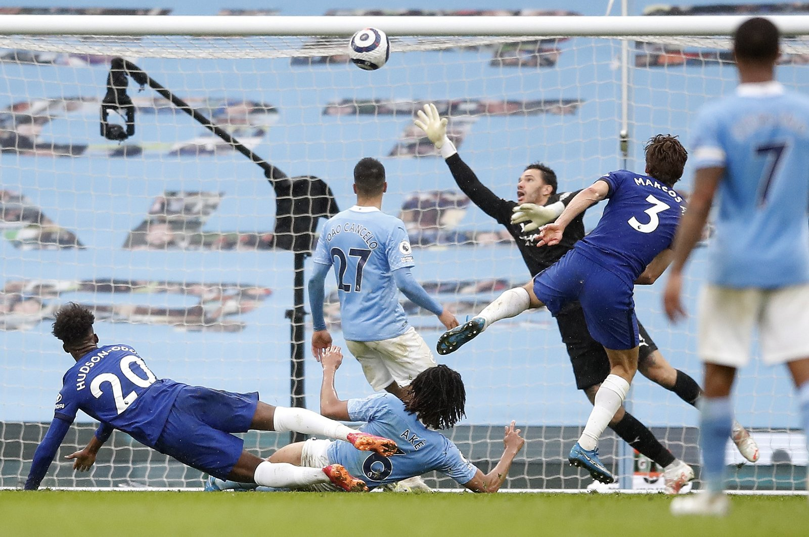 Chelsea's Marcos Alonso scores the winning goal during the English Premier League football match between Manchester City and Chelsea at the Etihad Stadium in Manchester, May 8, 2021.(Pool via AP)