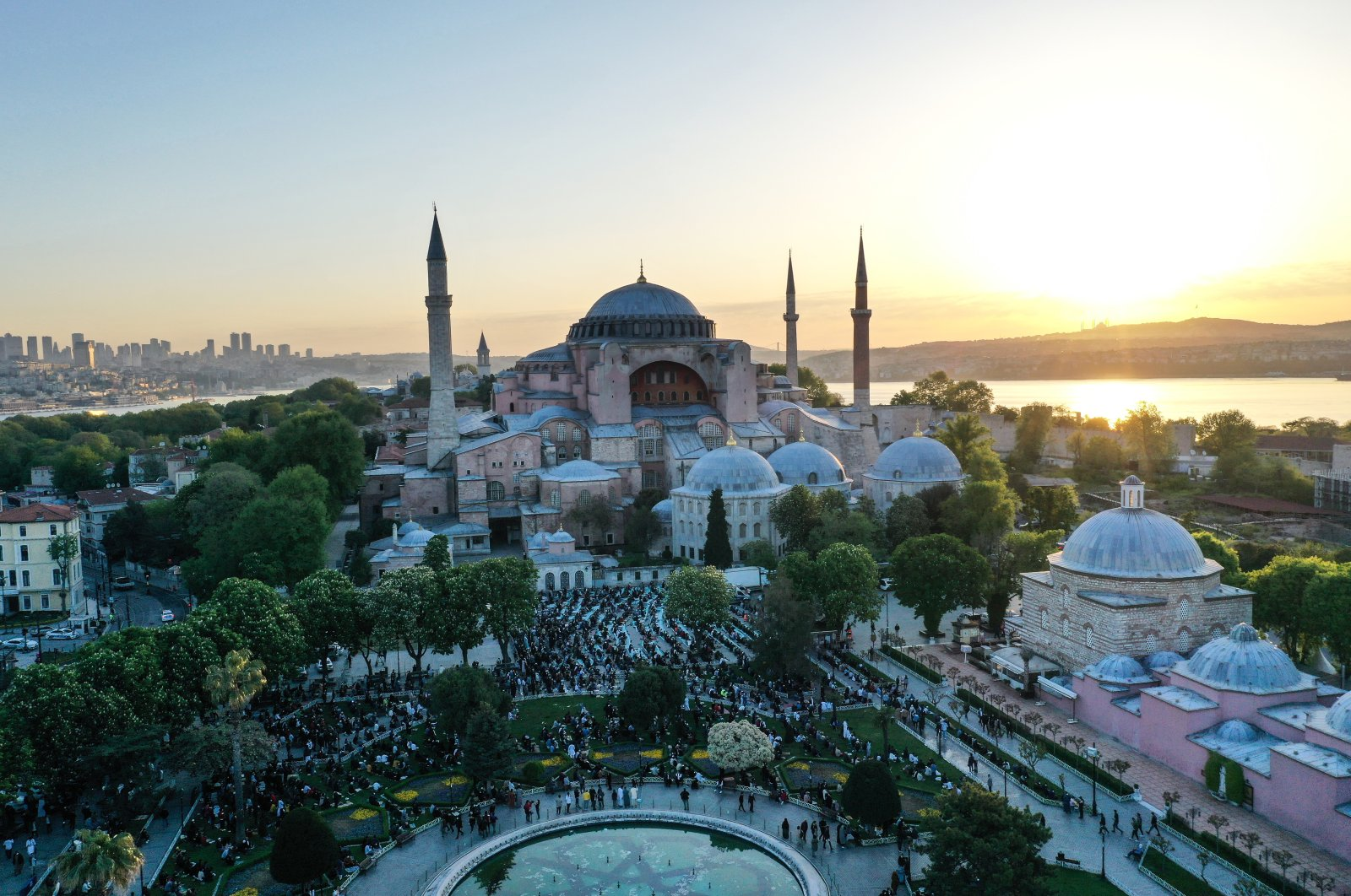 The Hagia Sophia Grand Mosque in the historic Sultanahmet district of Istanbul is seen during bayram prayers on the first day of Eid al-Fitr, which marks the end of the holy month of Ramadan, Istanbul, Turkey, May 13, 2021. (AA Photo)