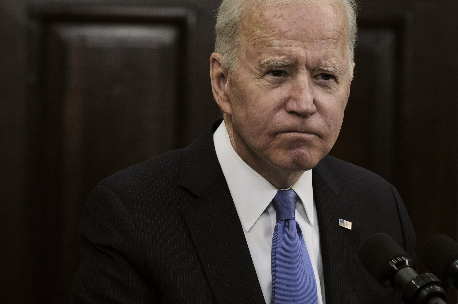 U.S. President Joe Biden speaks about the Colonial Pipeline hacking incident, in the Roosevelt Room at the White House in Washington, D.C., U.S., May 13, 2021. (EPA Photo)