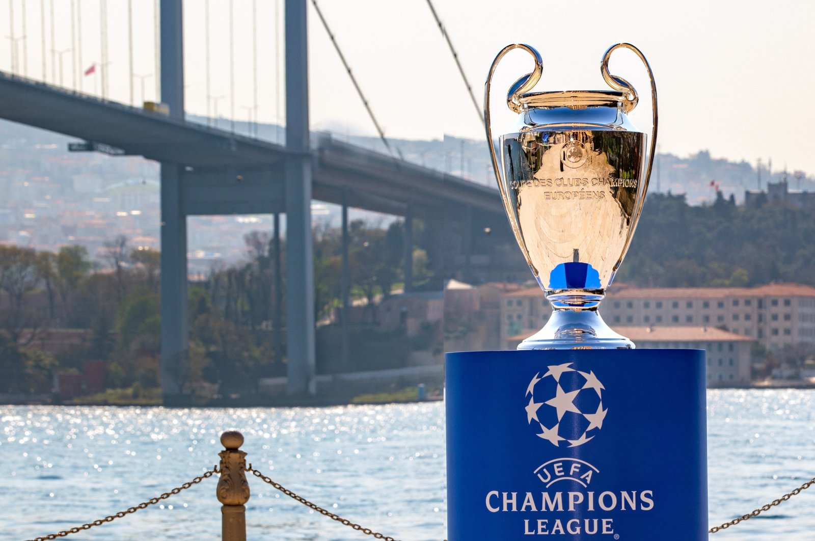 This file photo shows the Champions League trophy by the Bosporus for the final match orginally scheduled to take place in Istanbul, Turkey,  on May 13, 2021. (DHA Photo)