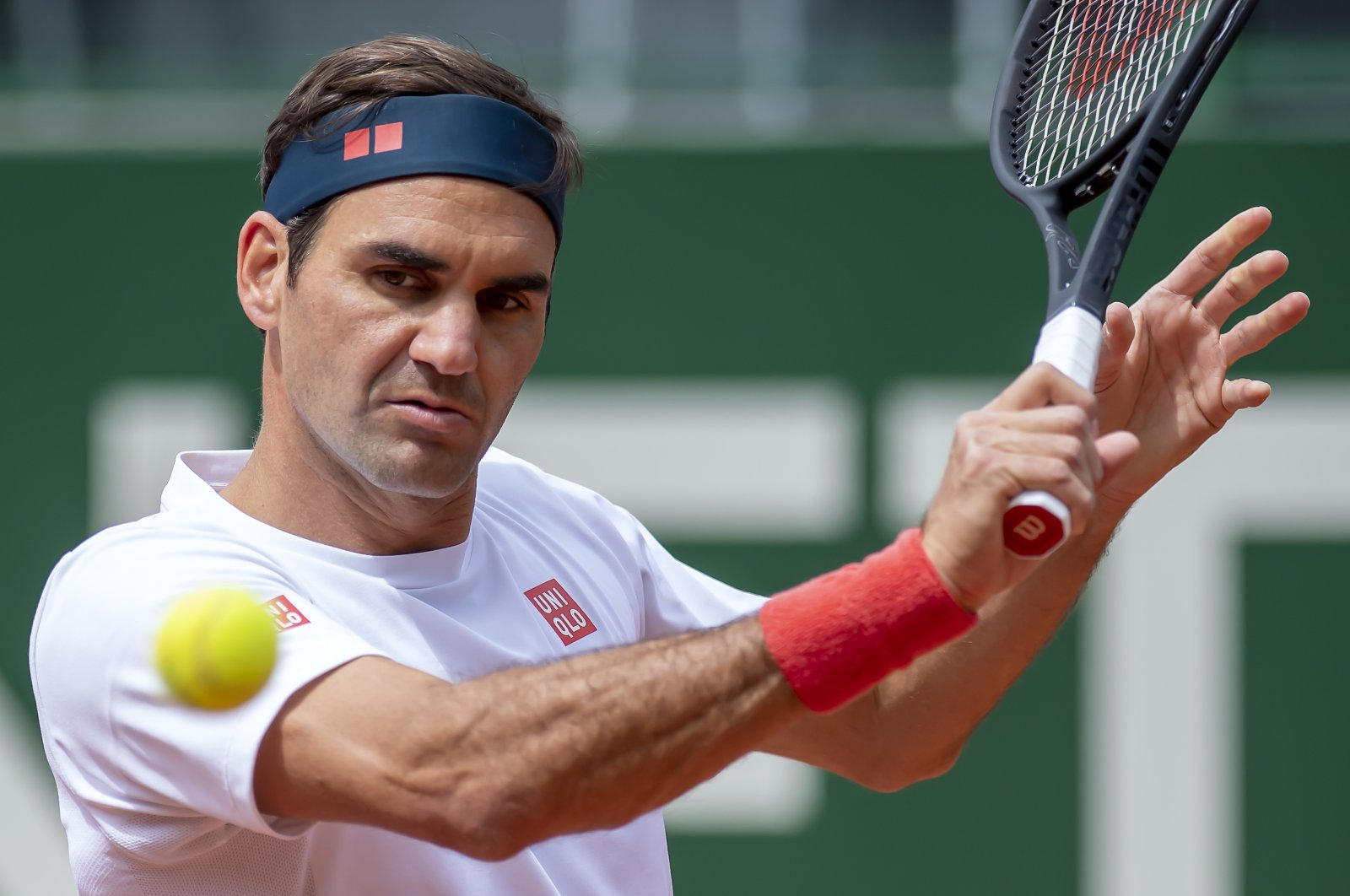 Switzerland's tennis player Roger Federer in action during a training session prior to the ATP 250 Tennis Geneva Open tournament, in Geneva, Switzerland, May 14, 2021. (AP Photo)