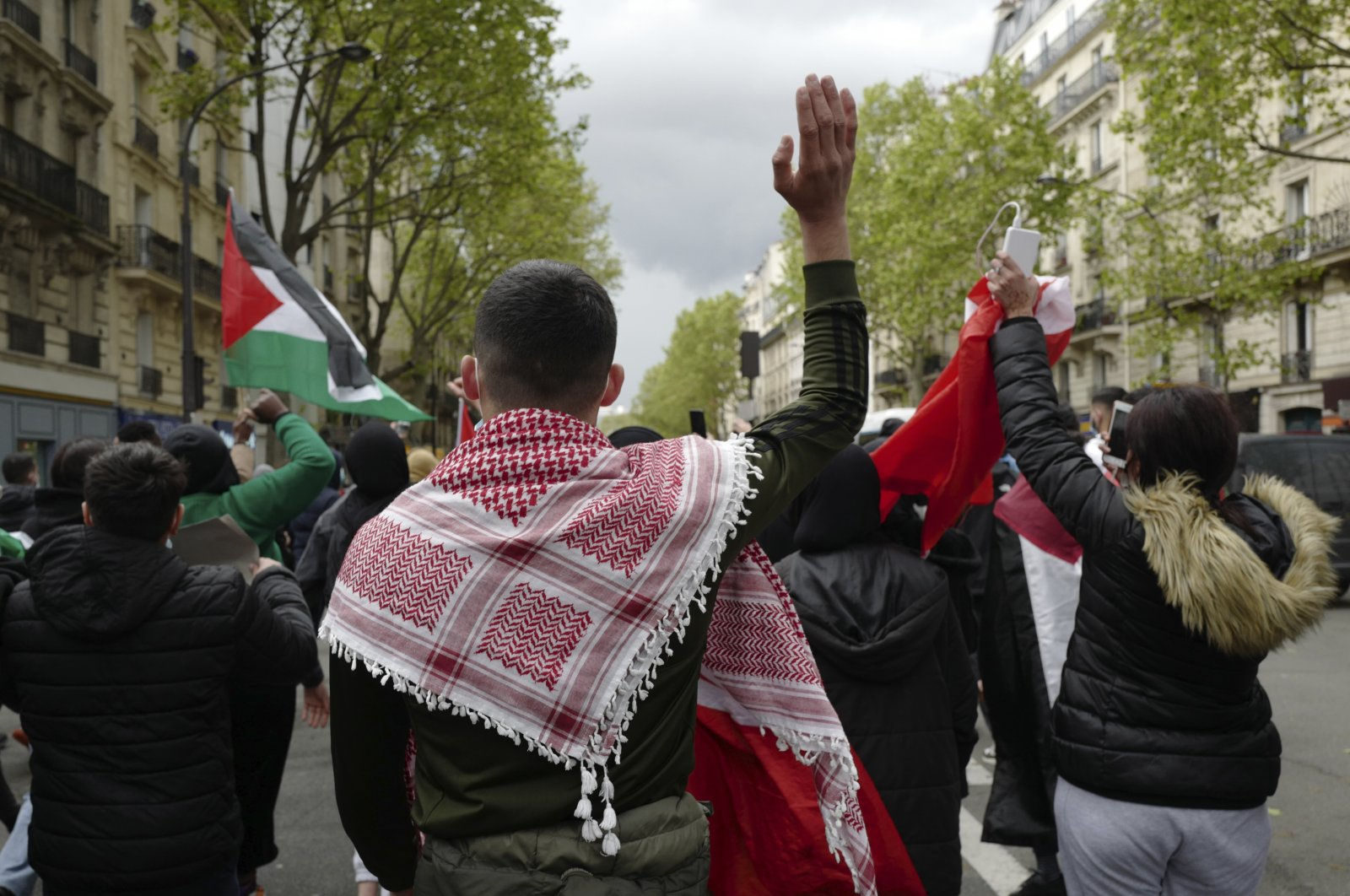Demonstrators march during a banned protest in support of Palestinians in the Gaza Strip, in Paris, France, Saturday, May 15, 2021. (AP Photo)