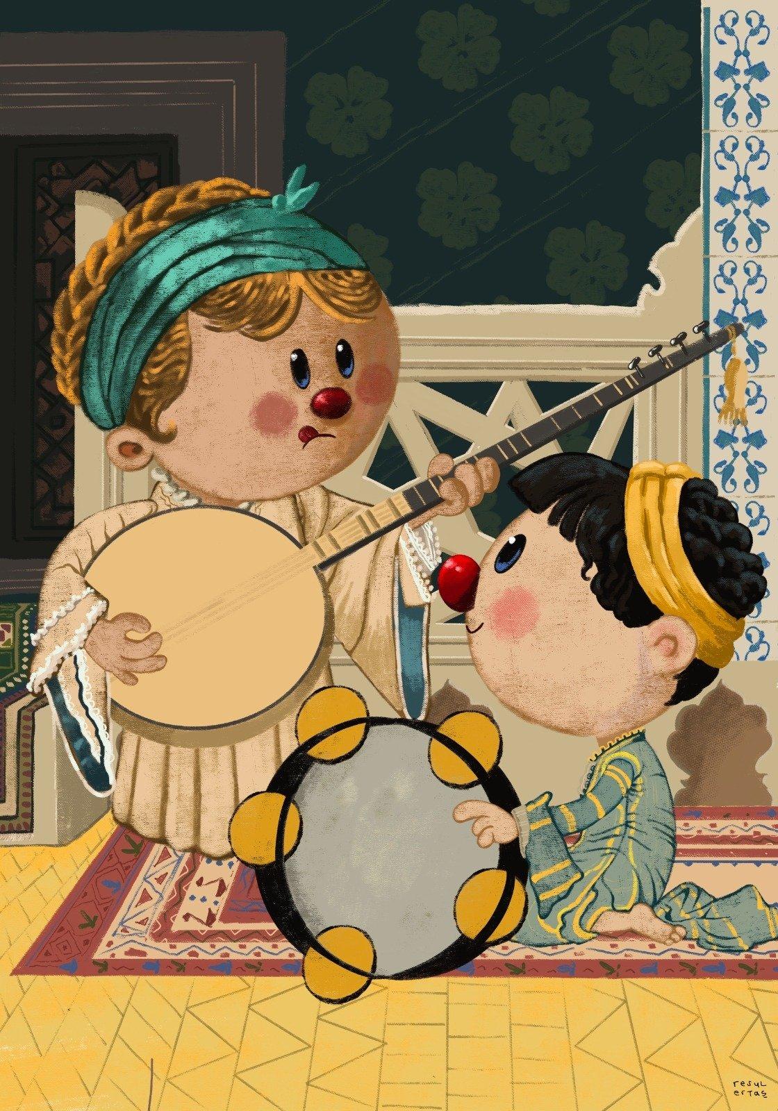 A cartoon by Resul Ertaş reinterprets Ottoman painter Osman Hamdi Bey's 'Two Musician Girls.' (AA Photo)