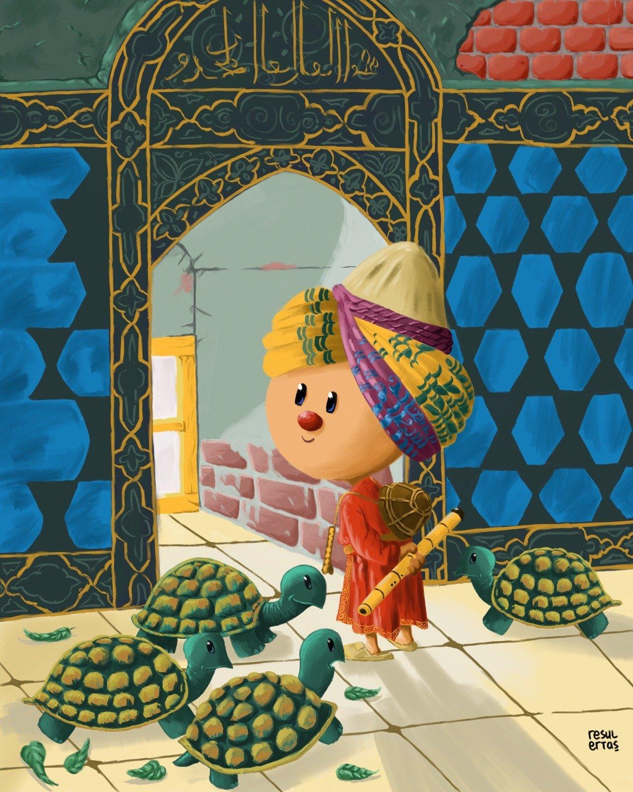A cartoon by Resul Ertaş reinterprets Ottoman painter Osman Hamdi Bey's 'The Tortoise Trainer.' (AA Photo)