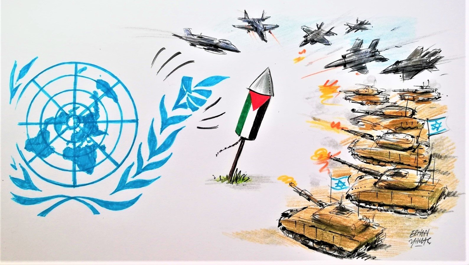 An illustration by Erhan Yalvaç criticizes Israel's asymmetric use of power against the Palestinians and the U.N.'s lack of action in the re-escalated Palestinian-Israeli conflict.