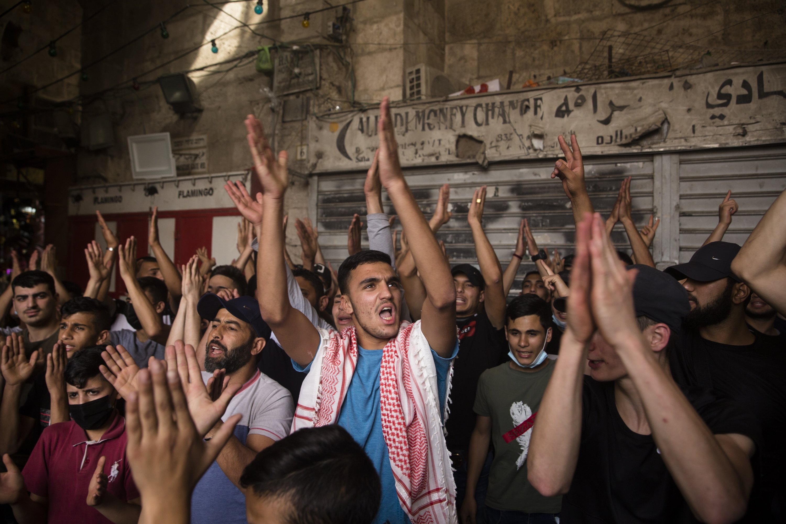 Palestinians protest at the Damascus Gate in the Old City, East Jerusalem, occupied Palestine, May 10, 2021. (Photo by Getty Images)