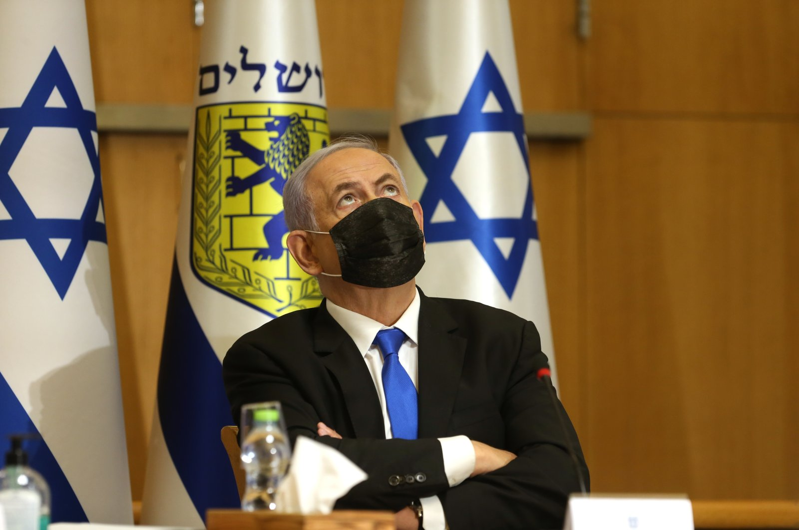Israeli Prime Minister Benjamin Netanyahu attends a special Cabinet meeting on the occasion of Jerusalem Day, at the Jerusalem Municipality building, in Jerusalem, May 9, 2021. (AP Photo)