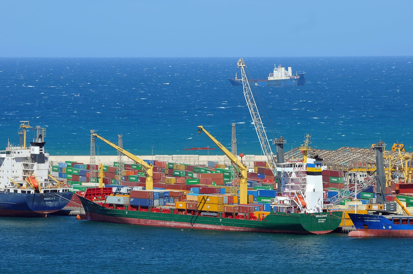 A view of the Dutch container ship Vento di Levante in the harbor of Tripoli, Libya, March 15, 2013. (Getty Images)
