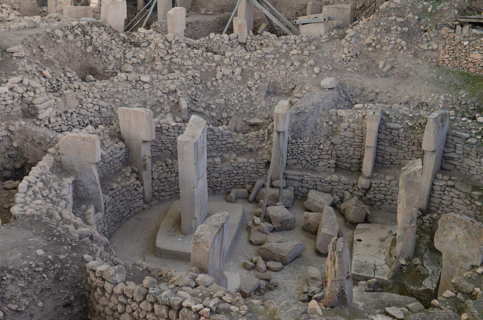 The monoliths are seen in this photo taken in Göbeklitepe, Turkey, April 21, 2021. (AA Photo)