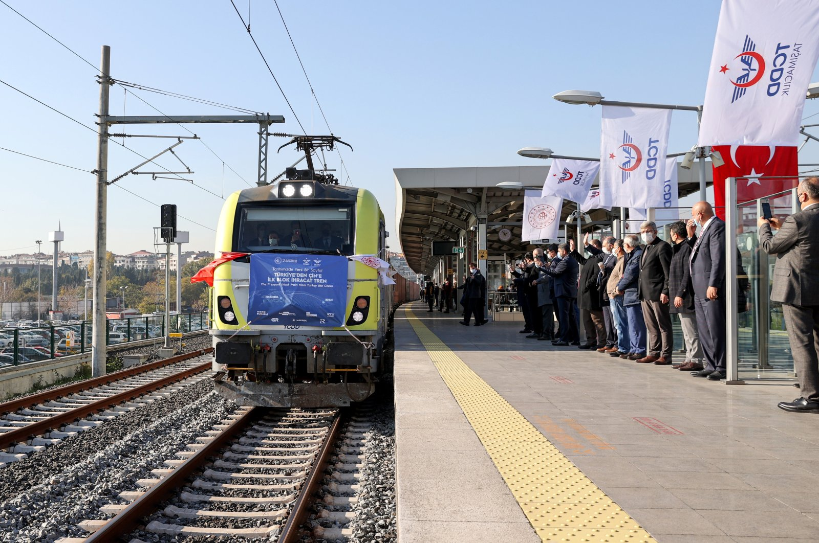 An export train from Turkey to China sets off from the Kazlıçeşme station of the Marmaray on Istanbul's European side, Turkey, Dec. 10, 2020. (AA Photo)