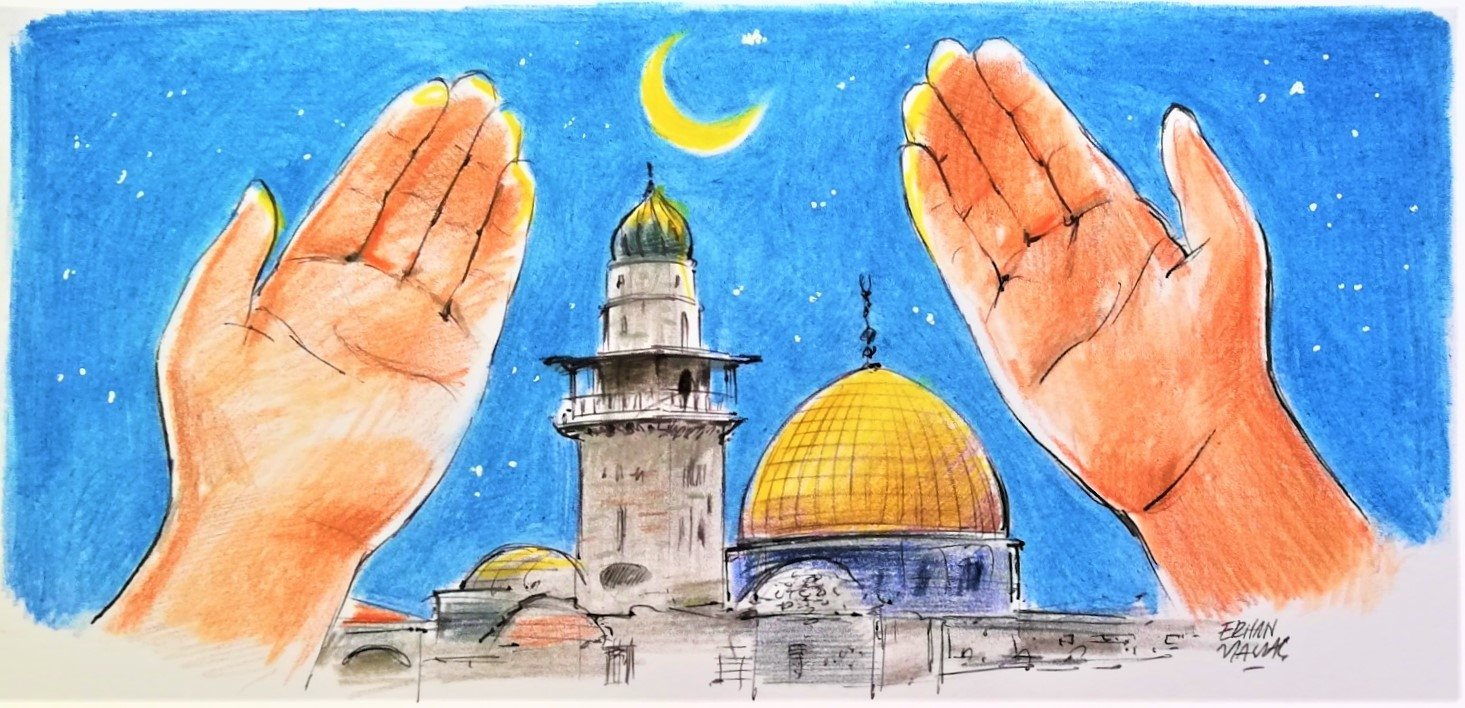 An illustration by Erhan Yalvaç shows a man holding up his hands in prayer as the Dome of the Rock on the Al-Aqsa compound, an iconic shrine in the Israel-occupied Jerusalem, is seen in the background.