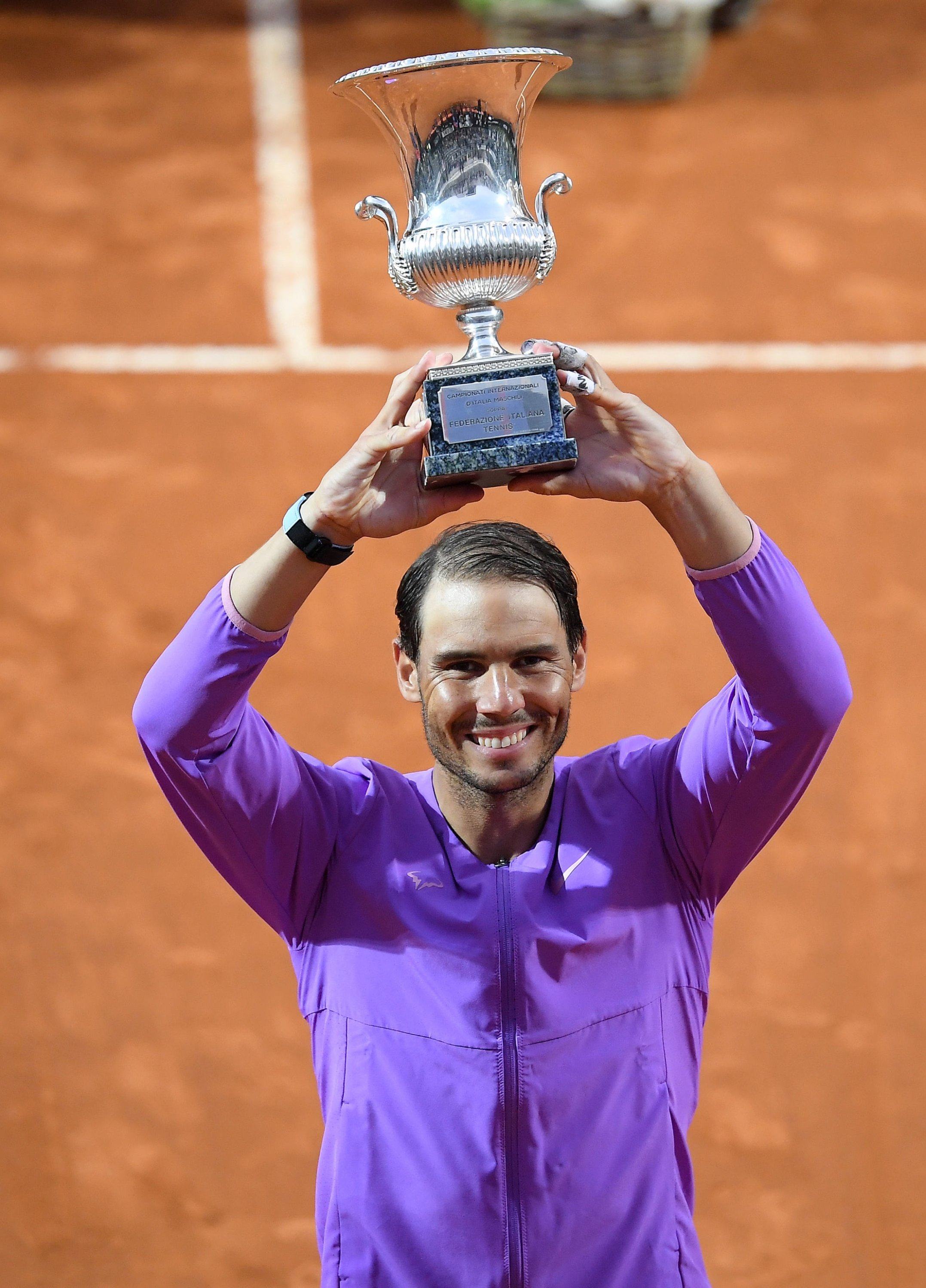 Spain's Rafael Nadal poses with the Italian Open trophy, Rome, Italy, May 16, 2021. (EPA Photo)