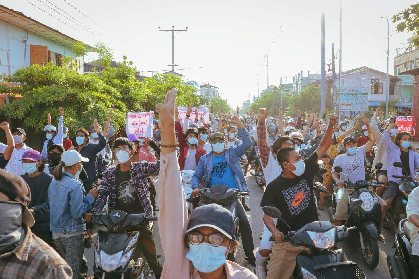 In this picture obtained from social media, people protest the military coup in Mandalay, Myanmar, May 16, 2021. (Reuters via social media)