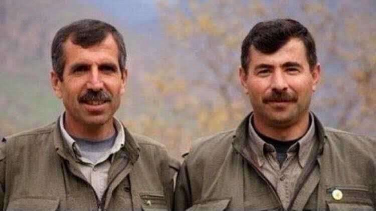 Sofi Nurettin (R) and another high-ranking PKK terrorist Bahoz Erdal are seen in this undated picture provided to the press