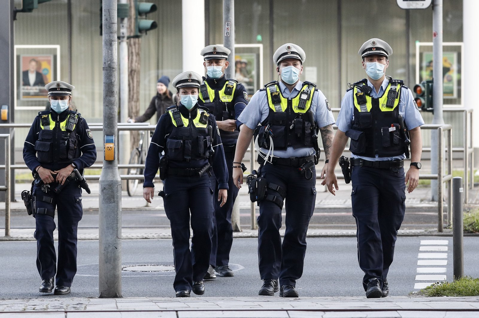 Police secure a court in Dusseldorf, Germany, April 29, 2021. (AP Photo)