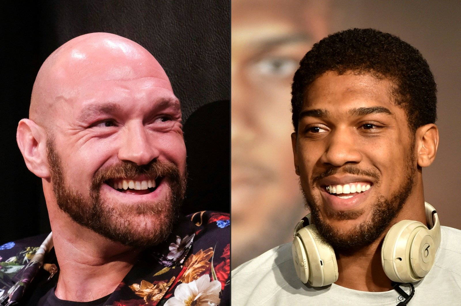 This combination of pictures created on Dec. 14, 2020, shows British heavyweight boxers Tyson Fury (L) and Anthony Joshua. (AFP Photo)
