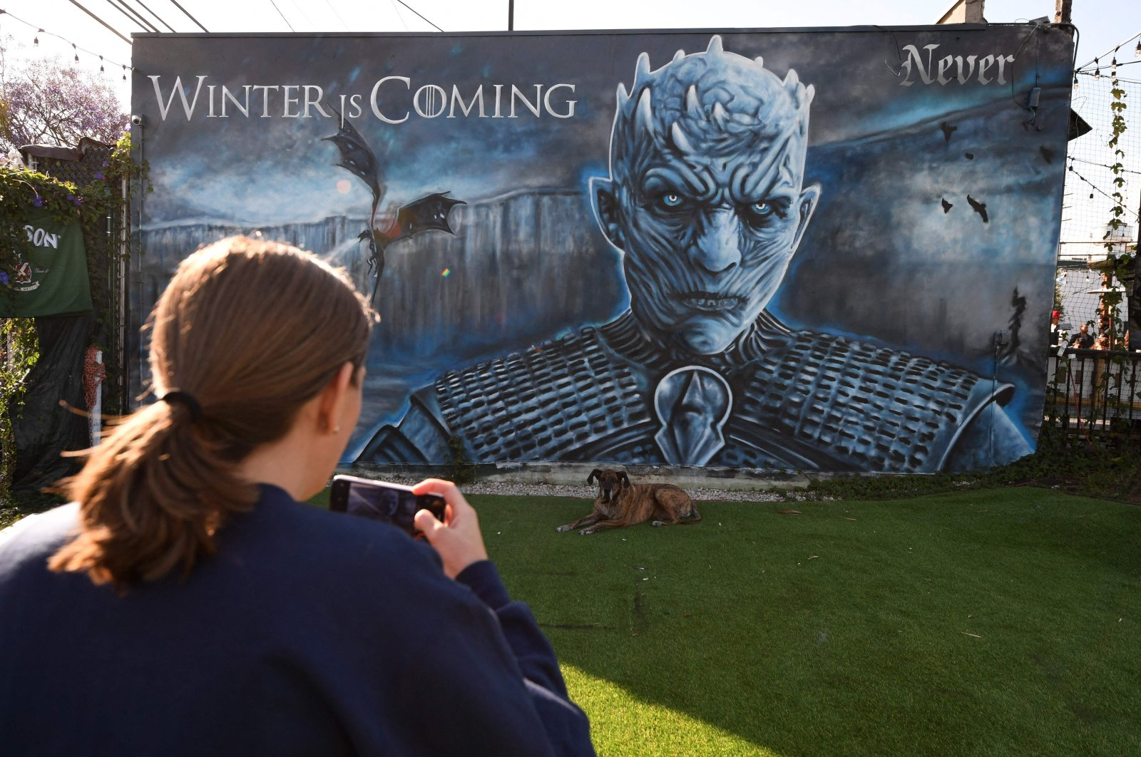 """A woman takes a photo of her dog in front of a """"Game of Thrones"""" mural outside Brennan's bar before a viewing party for HBO's """"Game of Thrones"""" series finale in Marina del Rey, California, U.S., May 19, 2019. (AFP Photo)"""