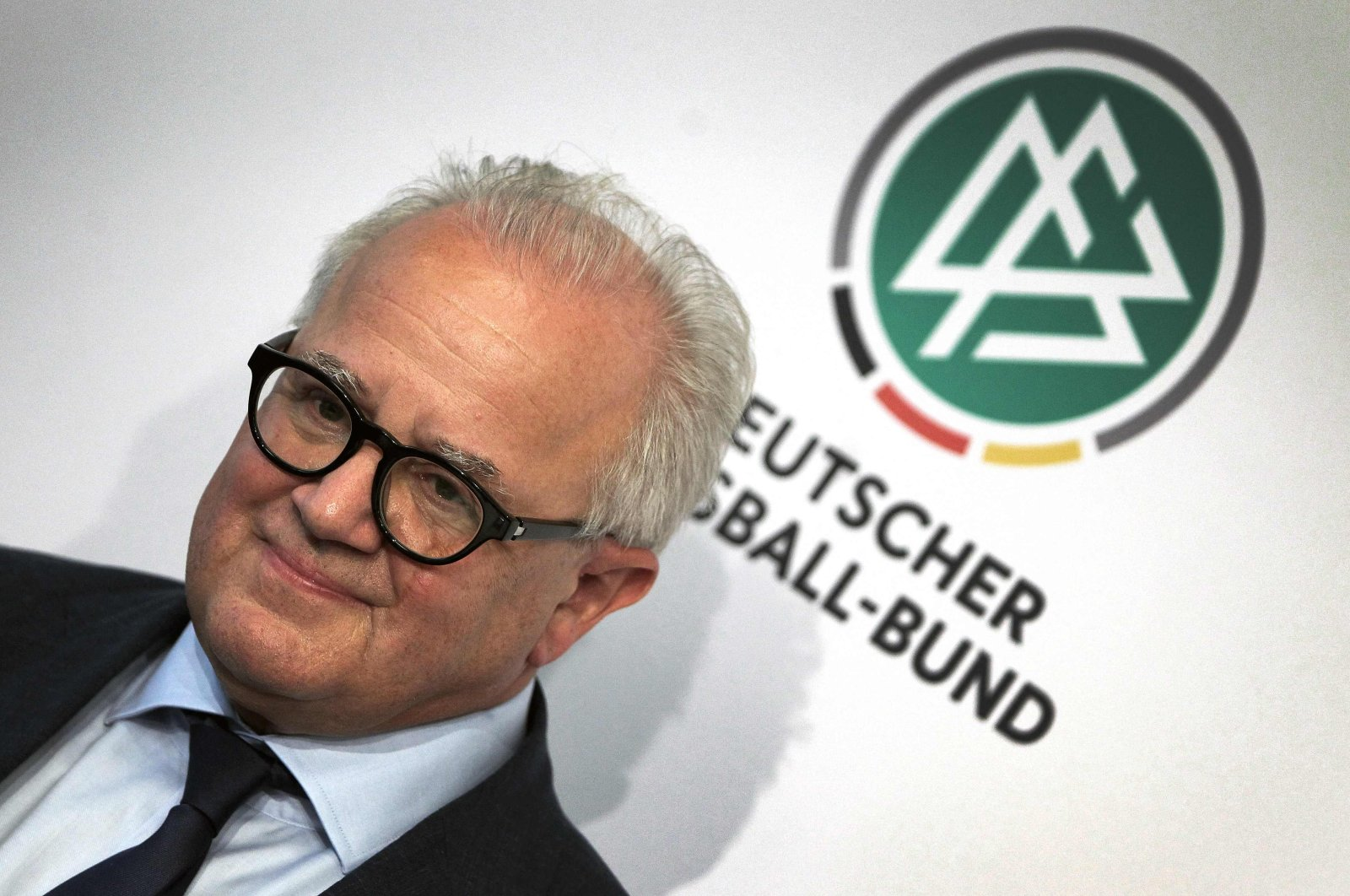 Then-president of the German football federation DFB, Fritz Keller, attends a press conference in Frankfurt am Main, Germany, Sept. 27, 2019. (AFP)