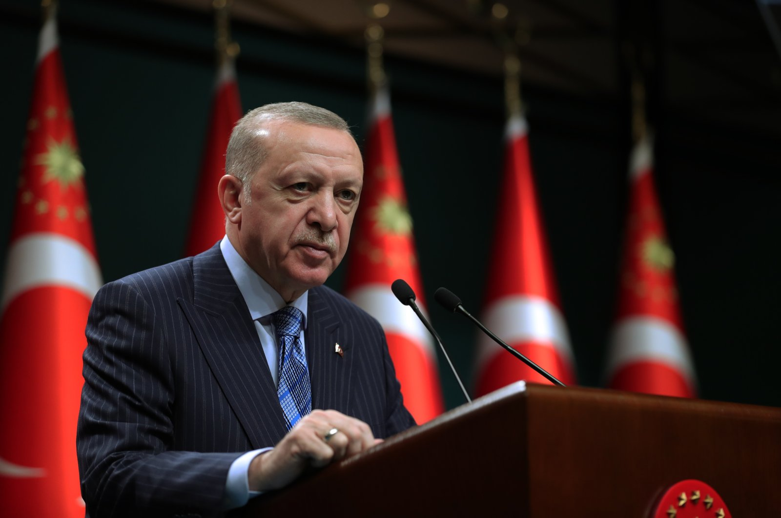 President Recep Tayyip Erdoğan prepares to speak before a press conference at the Presidential Complex, Ankara, Turkey, May 17, 2021 (AA Photo)