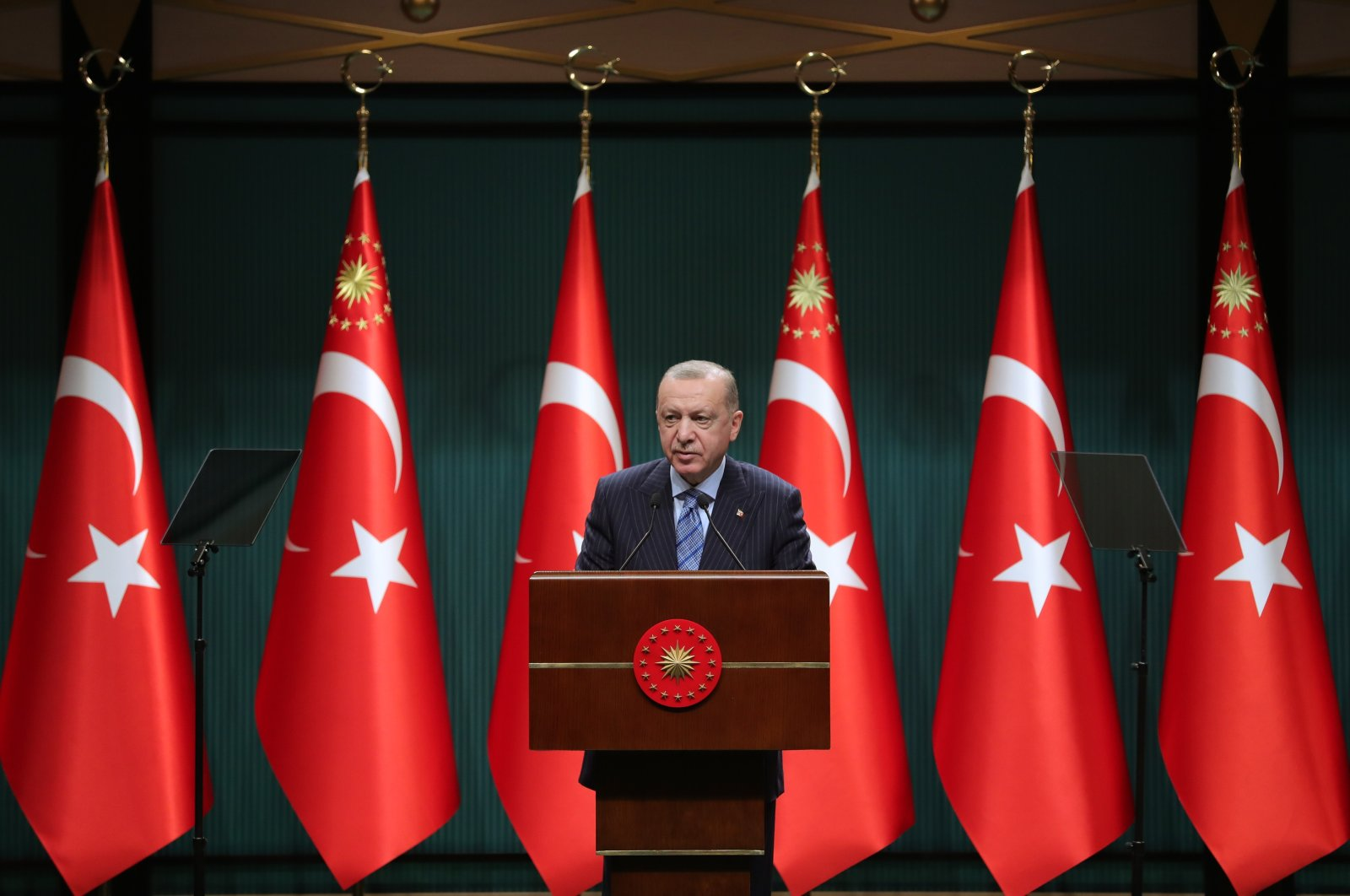 President Recep Tayyip Erdoğan speaks during a press conference at the Presidential Complex in Ankara, Turkey, on May 17, 2021. (AA Photo)