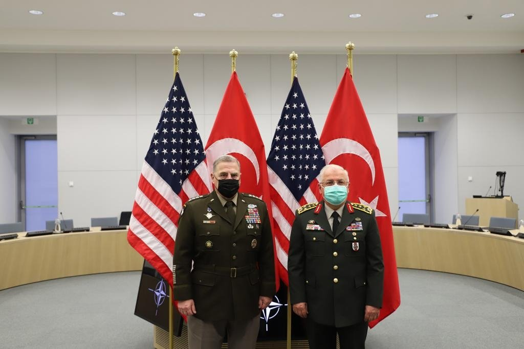 Joint Chiefs of Staff Gen. Mark A. Milley (L) meets with Chief of the Turkish General Staff Gen. Yaşar Güler in Brussels, Belgium, May 18, 2021 (AA Photo)