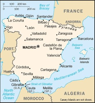 Map of Spain shown in position with North Africa and the two Spanish exclaves Ceuta and Melilla in Morocco (B-L) indicated with two dots. (Photo taken from Wikimedia Commons, public domain image)