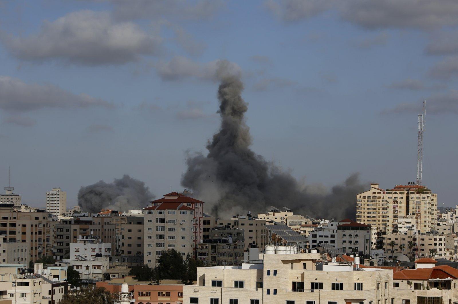 An Israeli airstrike hits a building in Gaza City, May 17, 2021. (AP Photo)