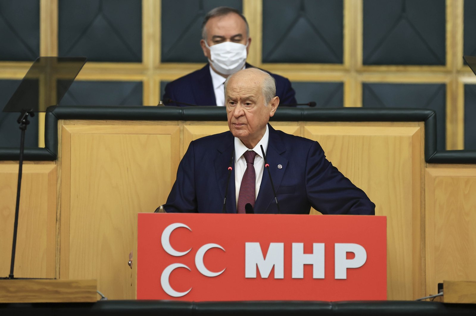 MHP Chairperson Devlet Bahçeli speaks at his party's parliamentary group meeting at the Turkish Parliament, Ankara, Turkey, May 18, 2021. (AA Photo)