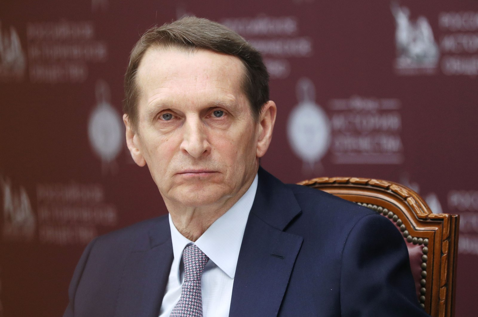 Russian Historical Society Chairperson Sergei Naryshkin attends a roundtable discussion marking 75 years since the start of the Tokyo Trial, at the offices of the Russian Historical Society, Moscow, Russia, April 20, 2021. (Reuters Photo)