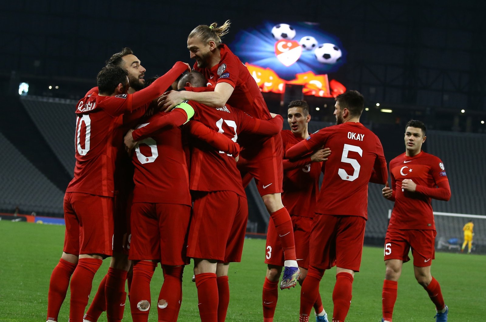 Turkish national team players celebrate a goal against Latvia in a 2022 World Cup qualifiers match at Atatürk Olympic Stadium, Istanbul, Turkey, March 30, 2021. (IHA Photo)