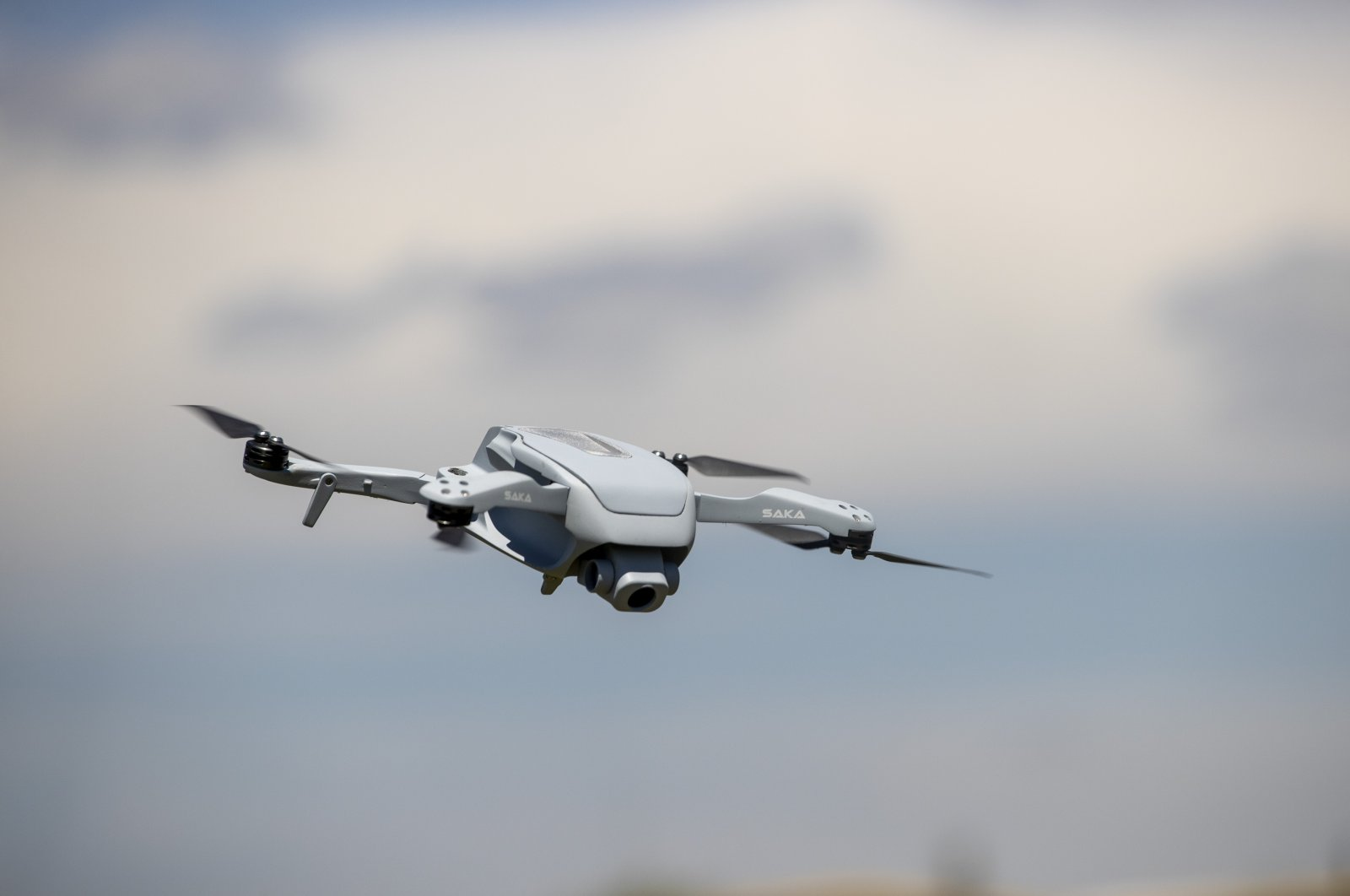 Aselsan's micro UAV, Saka, seen in the air during the test flight in the photo provided on May 18, 2021. (AA Photo)
