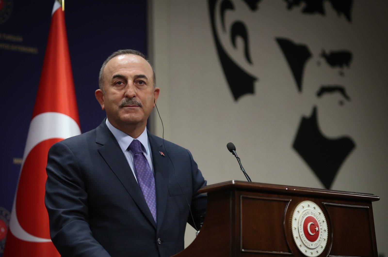 Turkish Foreign Minister Mevlüt Çavuşoğlu speaks during a press conference in Ankara, Turkey, May 3, 2021. (AA photo)