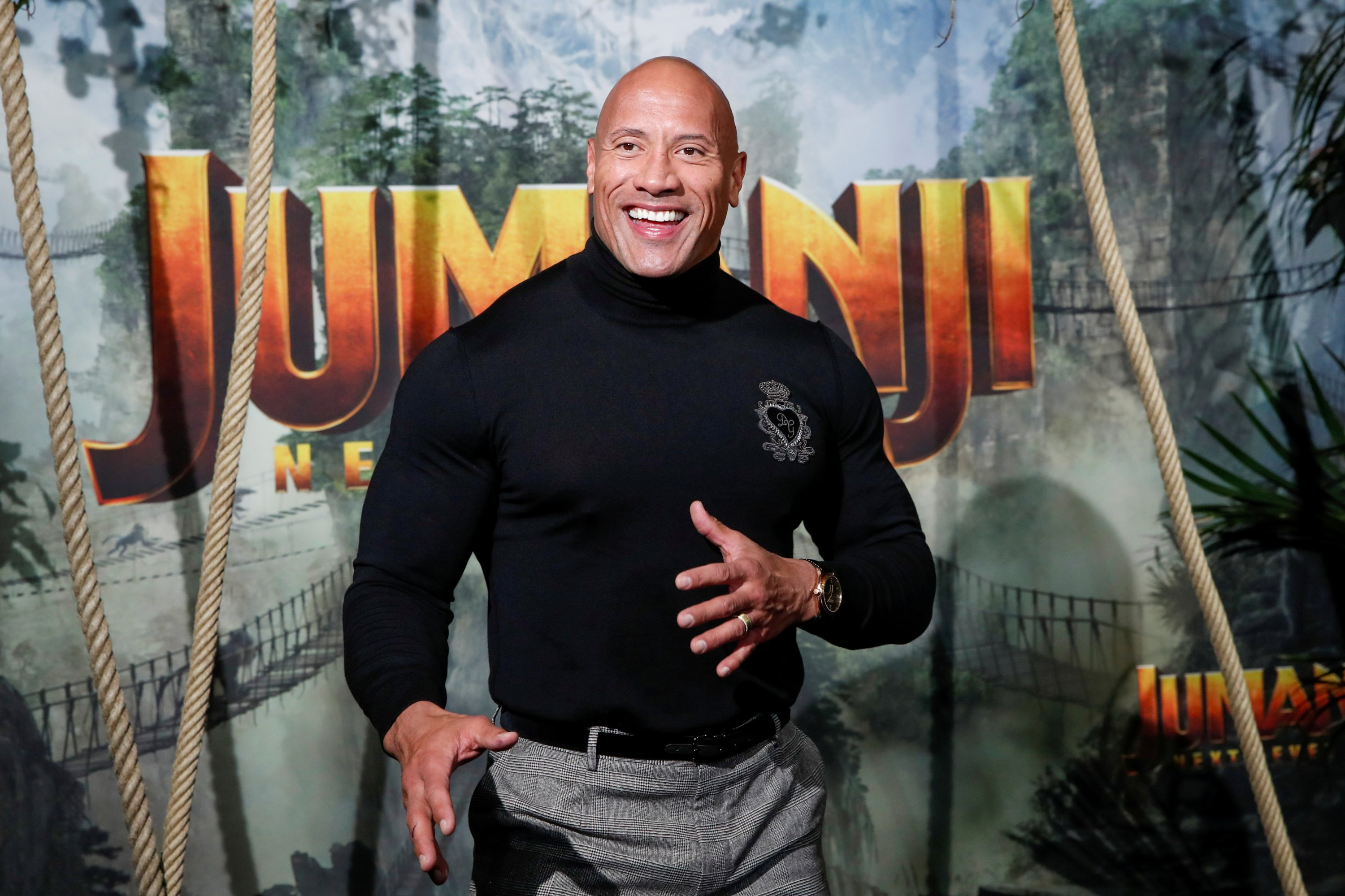 Cast member Dwayne Johnson attends the premiere of the movie 'Jumanji: The Next Level' at the Grand Rex in Paris, France, Dec. 3, 2019. (REUTERS Photo)