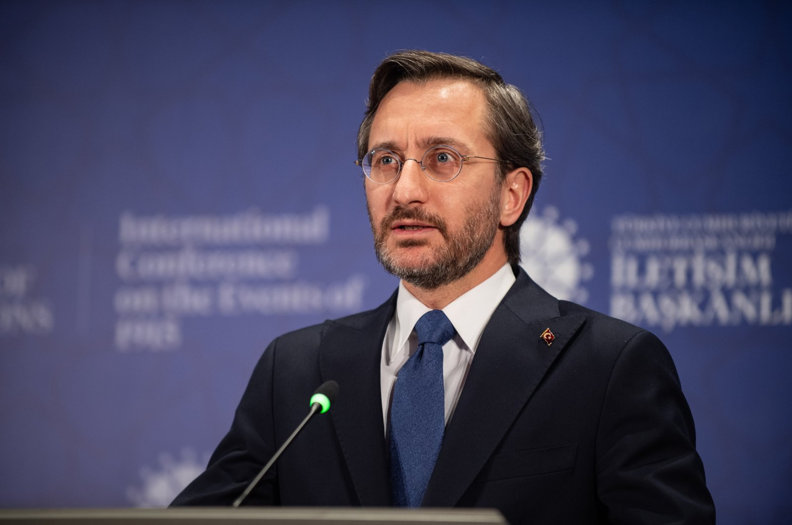 Presidential Communications Director Fahrettin Altun speaks to reporters at a virtual conference on the 1915 events in Ankara, Turkey, April 22, 2021. (AA File Photo)