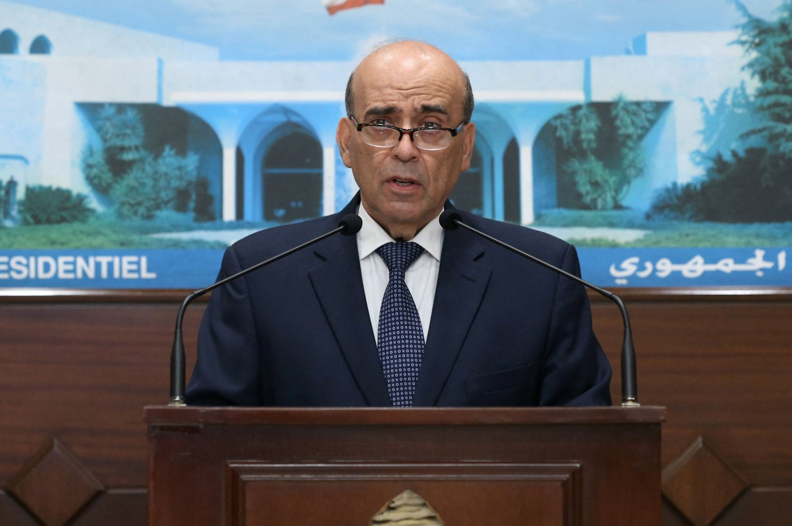 A handout picture provided by the Lebanese photo agency Dalati and Nohra shows Lebanese Foreign Minister Charbel Wehbe speaking after presenting his resignation to President Michel Aoun at the Baabda Presidential Palace, east of the Lebanese capital Beirut, May 19, 2021.(Dalati and Nohra via AFP)