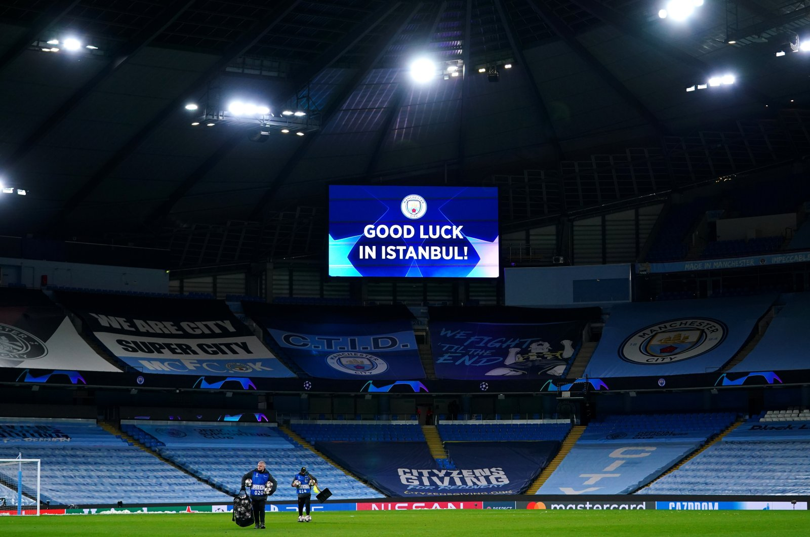 """The LED screen inside the stadium displays a message of """"Good luck in Istanbul!"""" with a picture of the Manchester City crest after the UEFA Champions League Semi-Final Second Leg match between Manchester City and Paris Saint-Germain at Etihad Stadium, in Manchester, U.K., May 4, 2021. (Photo by Getty Images)"""
