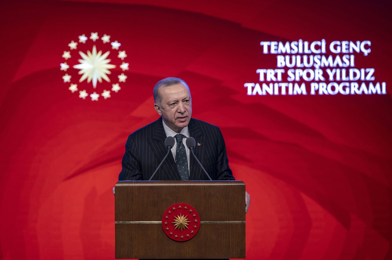 President Recep Tayyip Erdoğan speaks at a ceremony to mark the May 19 Youth and Sports Day in the capital Ankara, Turkey, May 19, 2021. (AA Photo)
