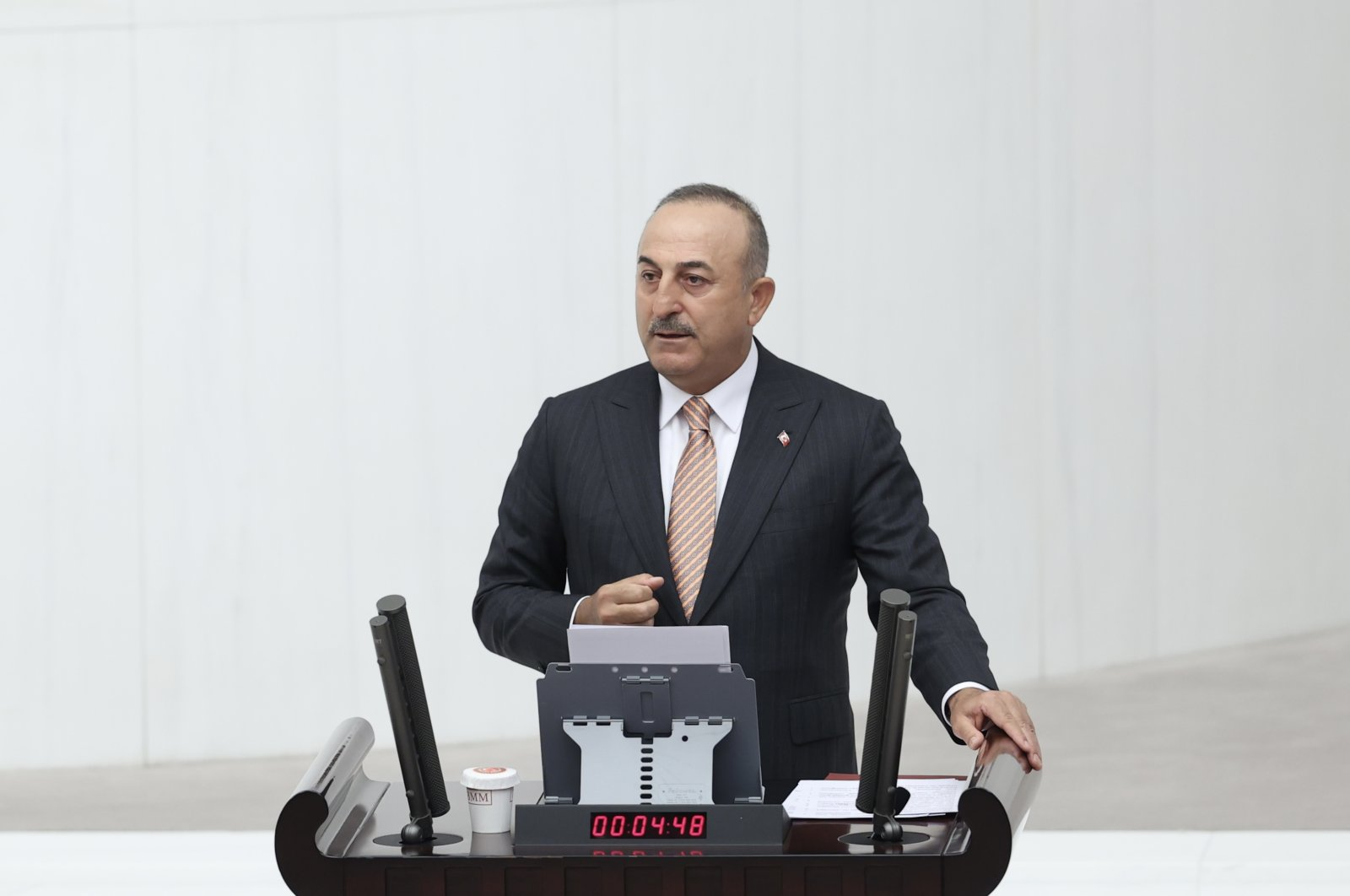 Foreign Minister Mevlüt Çavuşoğlu speaks at the Turkish Parliament in the capital Ankara, Turkey, May 18, 2021. (AA Photo)