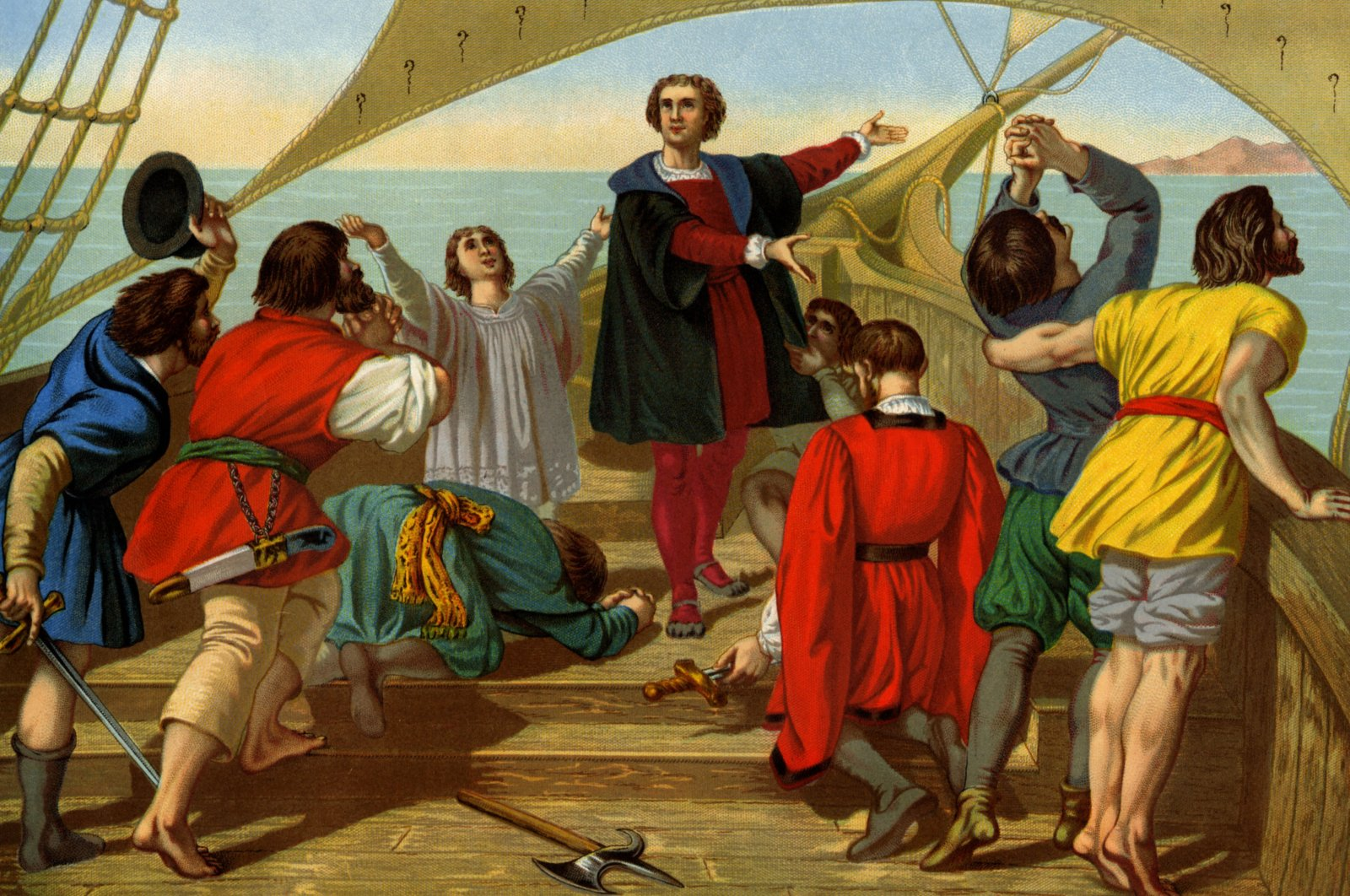 A 19th-century lithograph painting depicts Christopher Columbus (C) and his crew aboard the Spanish vessel Santa Maria, reacting to seeing North America for the first time in 1492.