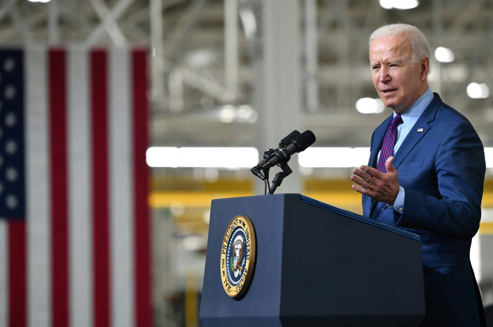 U.S. President Joe Biden delivers remarks at the Ford Rouge Electric Vehicle Center, in Dearborn, Michigan, U.S., May 18, 2021. (AFP Photo)