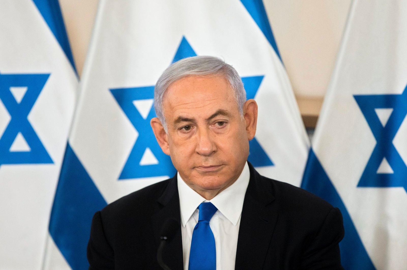 Israeli Prime Minister Benjamin Netanyahu looks on during a briefing to ambassadors to Israel at a military base in Tel Aviv, Israel, May 19, 2021. (Sebastian Scheiner / Pool via Reuters)