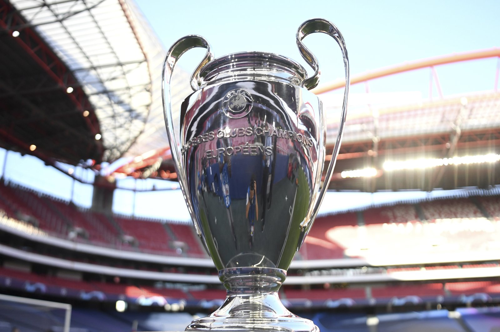 The Champions League trophy is displayed before a semifinal match between RB Leipzig and Paris Saint-Germain at Luz Stadium in Lisbon, Portugal, Aug. 18, 2020. (AP Photo)