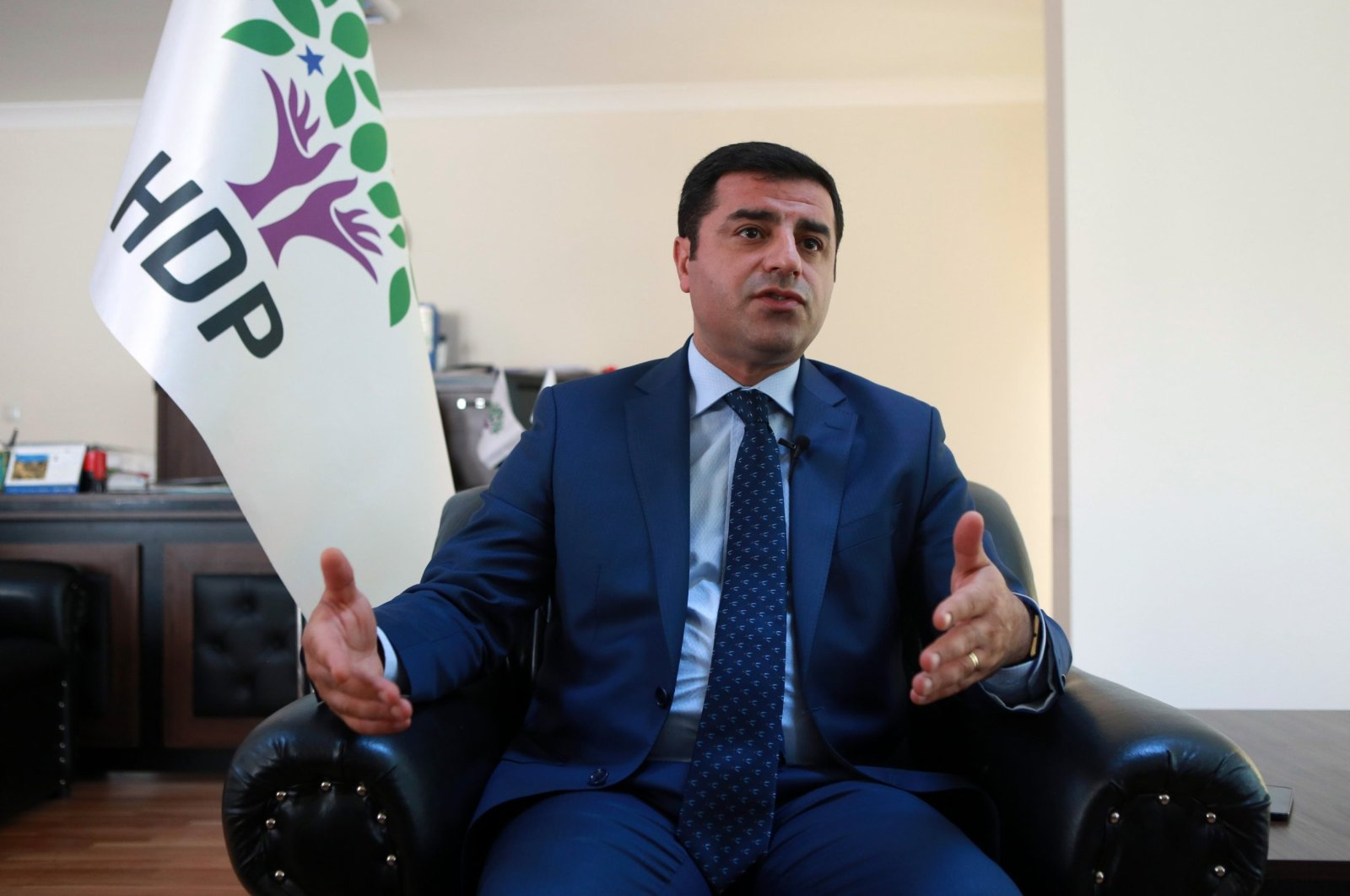 Former co-leader of the pro-PKK People's Democratic Party (HDP), Selahattin Demirtaş, speaks during an interview in Ankara, Turkey, July 22, 2016. (AFP)
