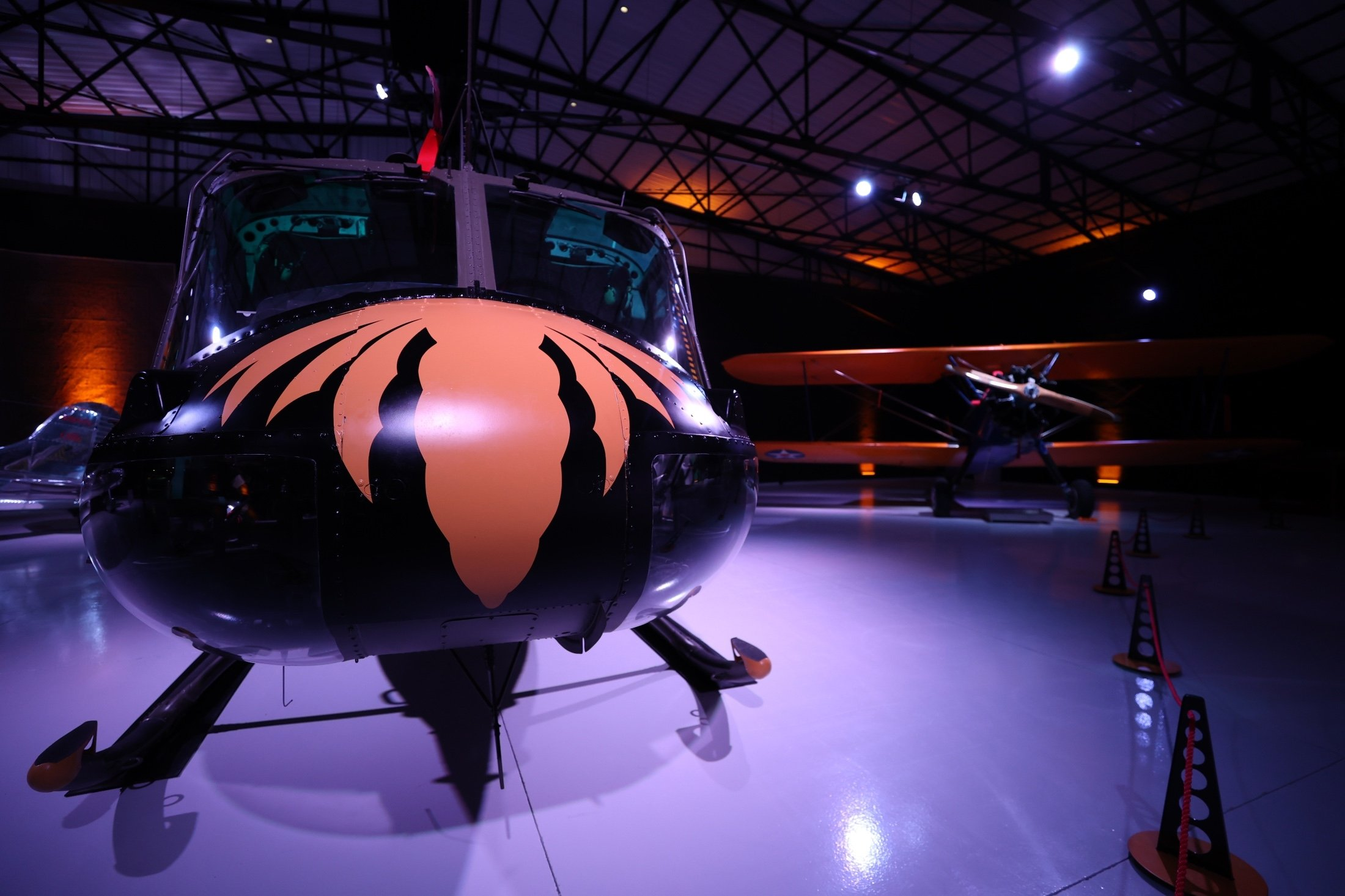 A Bell UH-1H helicopter that was used in theVietnam War andrecentlyinthe film'Five Eyes'starring Jason Statham, stands on display in theM.S.Ö. Air and Space Museum in Eskişehir, Turkey, May 17, 2021. (AA Photo)