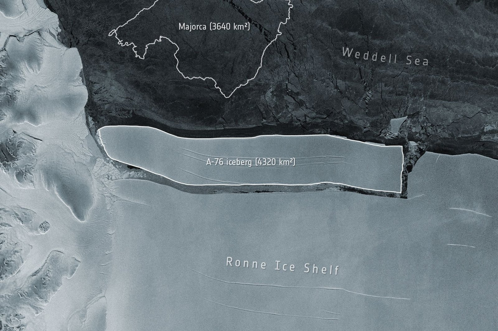 This handout image, released by The European Space Agency (ESA) on May 20, 2021, shows a view captured by the Copernicus Sentinel-1 mission  – combined with a graphic of the Spanish island of Majorca for scale – of the A-76 iceberg floating away from the Ronne Ice Shelf in the Weddell Sea, Antarctica, March 9, 2021. (EUROPEAN SPACE AGENCY/AFP Photo)