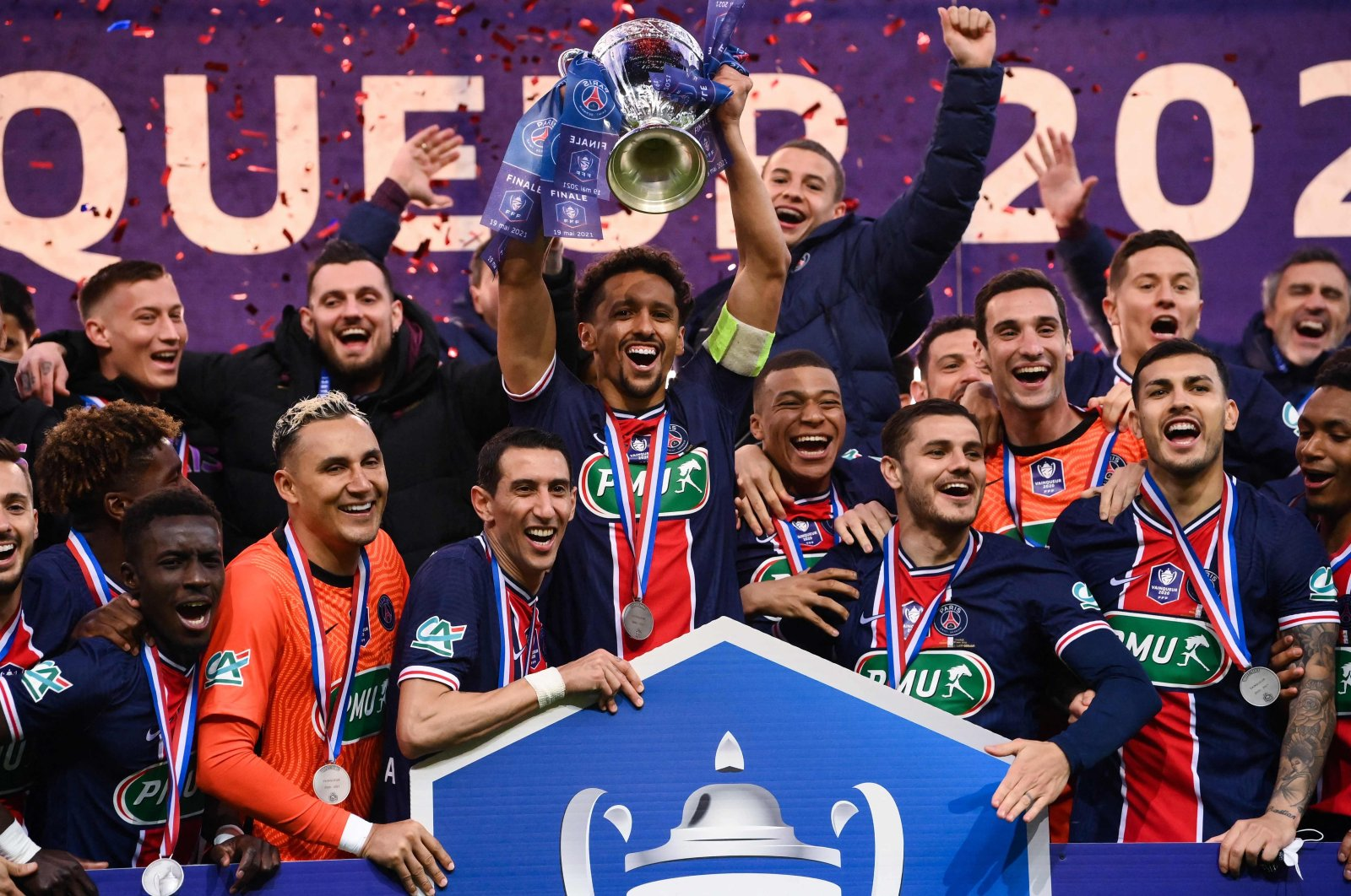 Paris Saint-Germain players celebrate with French Cup after winning the final against Monaco at the Stade de France stadium, Paris, France, May 19, 2021. (AFP Photo)