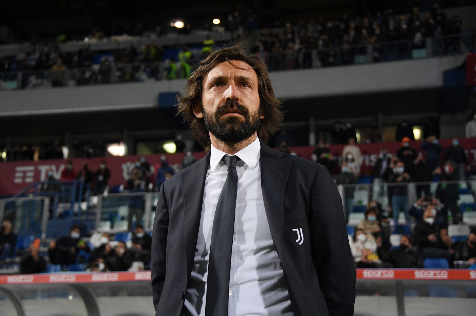 Juventus coach Andrea Pirlo watches the Coppa Italia final against Atalanta at the Mapei Stadium in Reggio Emilia, Italy, May 19, 2021. (AP Photo)
