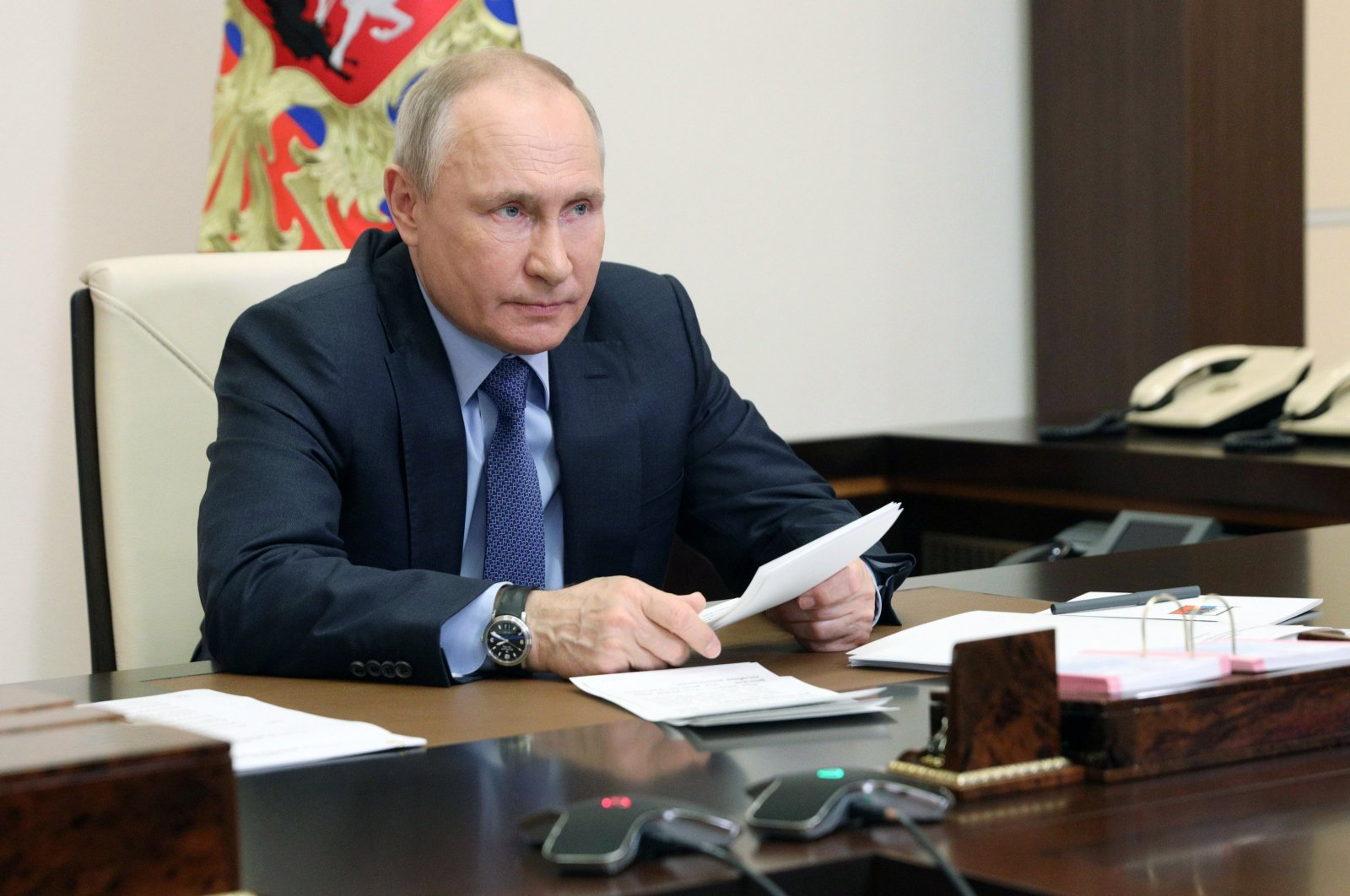 Russian President Vladimir Putin chairs a meeting of Pobeda (Victory) organizing committee via teleconference at the Novo-Ogaryovo residence outside Moscow, Russia, May 20, 2021. (Kremlin Pool Photo via AP)