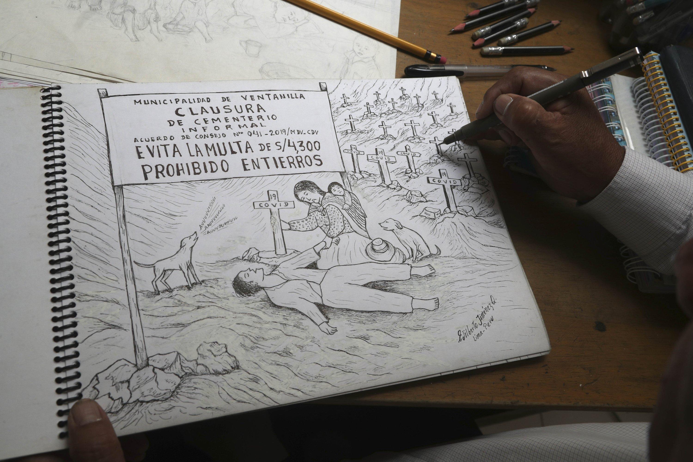 Edilberto Jimenez draws at his home in San Juan de Lurigancho, on the outskirts of Lima, Peru, May 20, 2021. (AP Photo)
